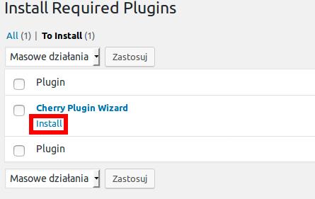 Monstroid2 - Rozpoczęcie instalacji wtyczki Cherry Plugin Wizard